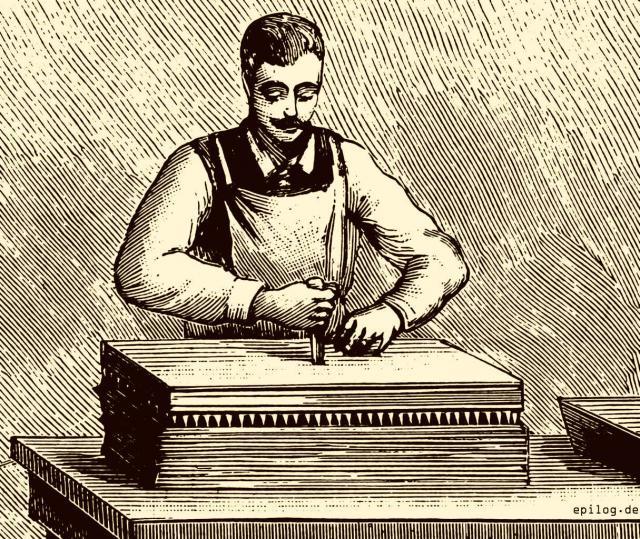Übertragung der Masse auf das Papierblatt