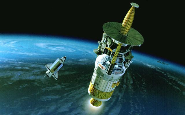 Galileo startet von der Raumfähre Atlantis die Reise zum Jupiter