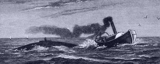 Nordenfelts Unterseeboot von einem Dampfer bugsiert