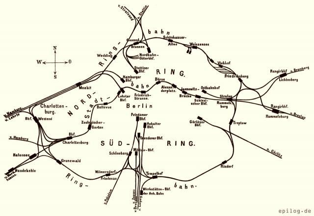 Situations-Skizze der Berliner Stadt- und Ringbahn