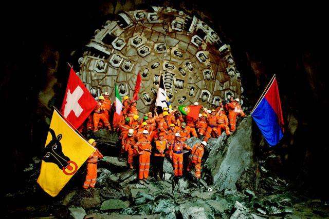 Hauptdurchschlag im Gotthard-Basistunnel