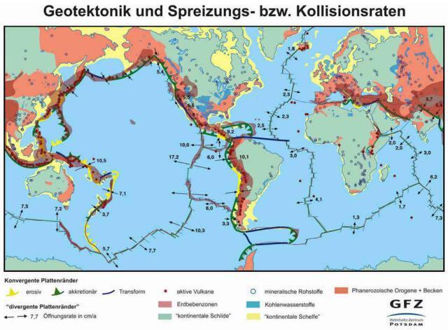Geotektonik und Spreizungs- bzw. Kollisionsraten