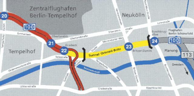 Bundesautobahn A113 Richtung Schönefeld