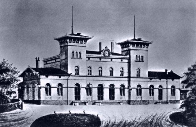 Empfangsgebäude des Berliner Bahnhofs in Dresden um 1875