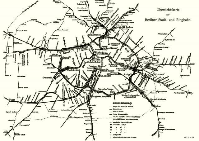 Übersichtskarte der Berliner Stadt- und Ringbahn