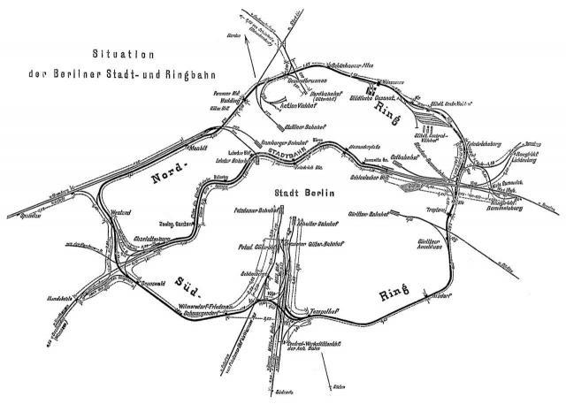Situationsplan der Berliner Stadt- und Ringbahn