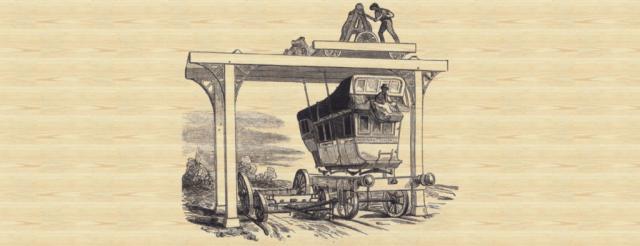 Maschine zum Übersetzen einer Kutsche auf Eisenbahnwaggons