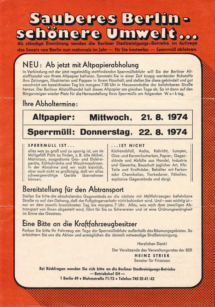 Plakat Sauberes Berlin