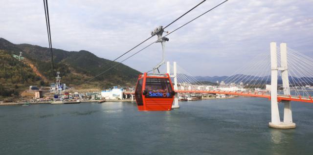 Seilbahn in der südkoreanische Hafenstadt Sacheon