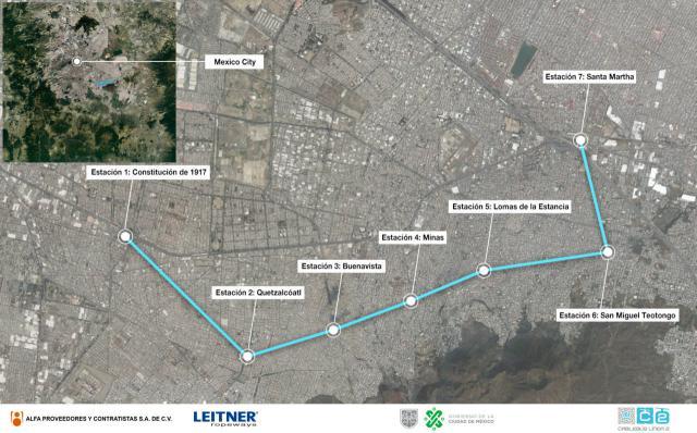 Urbane Seilbahn in Mexiko-Stadt