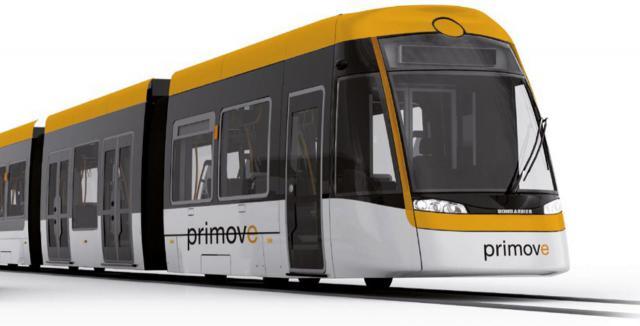 Straßenbahn für kontaktlosen, oberleitungsfreien Fahrbetrieb