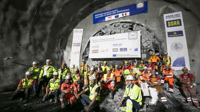 Brenner Basistunnel - Hauptdurchschlag beim Erkundungsstollen