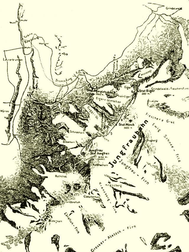 Karte der projektierten Jungfraubahn