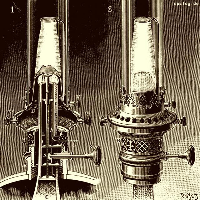 Petroleumlampe mit Auerbrenner