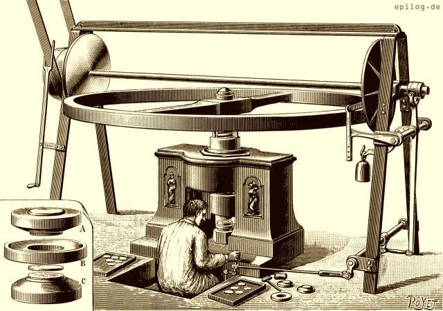 Gesamtansicht der Prägemaschine